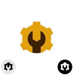 Tech logo with gear and wrench negative space vector