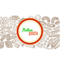 template with hand drawn pasta vector image