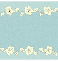 template with hibiscus flowers vector image