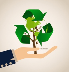Think green ecology concept tree with recycle vector
