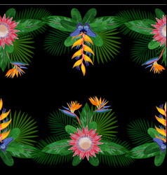 Tropical double seamless border vector