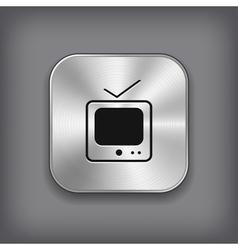 Tv icon - metal app button vector