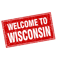 Wisconsin red square grunge welcome to stamp vector