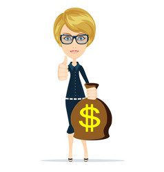 woman holding money bag vector image