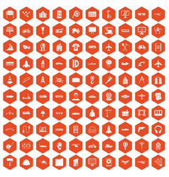 100 engineering icons hexagon orange vector