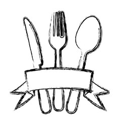 blurred silhouette cutlery kitchen elements with vector image