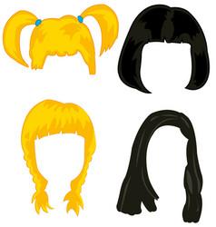 Feminine hairstyles wigs vector