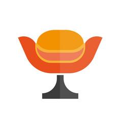 Modern stylish orange armchair with black leg vector