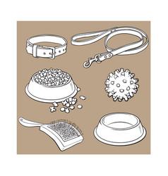 Pet cat dog accessories - bowl collar leash vector