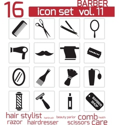 Black barber icon set vector