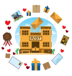 Historic building in the post box of postal items vector