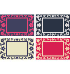 Floral frame in four colors versions vector