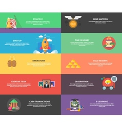 Icons for cash transactions strategy start up vector image