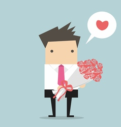 Businessman with a bouquet vector image