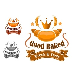 Bakery label withfresh and tasty croissant vector
