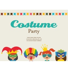 Invitation for costume party kids wearing vector