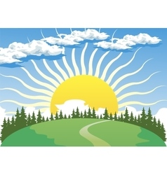 Country landscape with sun vector
