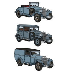 Vintage blue cars vector