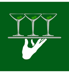 Waiter Hands With Tray vector image