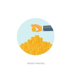 Money making flat background vector