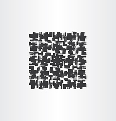 Black grunge square abstract background vector
