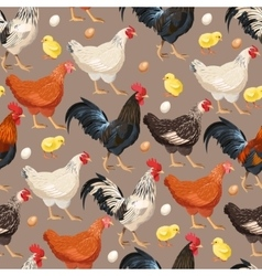 Colorful hens seamless vector