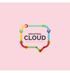 Flat linear design speech cloud logo talk bubble vector
