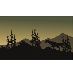 Silhouette of one allosaurus in hills vector
