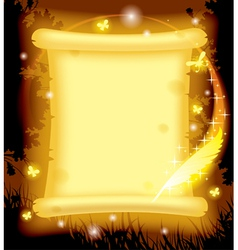 Fairy parchment and magic pen vector image