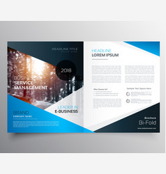 awesome blue magazine cover or bifold brochure vector image vector image