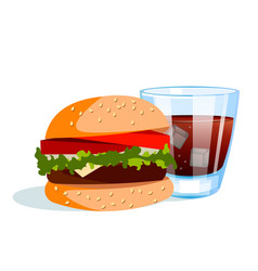 Burger with cold drink vector