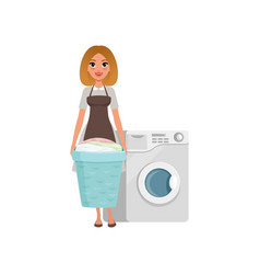 cheerful girl standing and holding laundry basket vector image