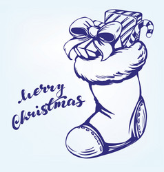 Christmas sock santa claus decorative christmas vector