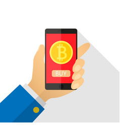 concept of paying bitcoins in a flat style pay vector image vector image