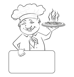 Cook with pizza and poster contour vector image