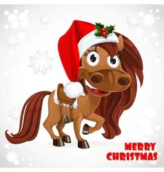 Cute santa horse on christmas card vector
