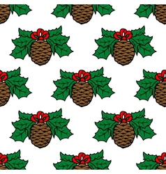 Fir cone seamless pattern vector