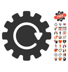 Gearwheel rotation icon with love bonus vector
