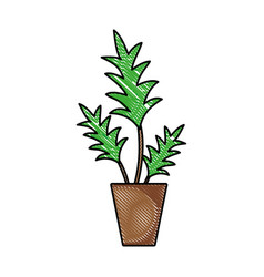grated nature plant with leaves inside flowerpot vector image vector image