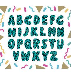 Hand drawn green alphabet vector