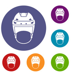 Hockey helmet icons set vector