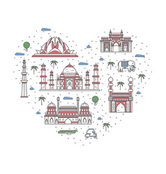 I love india poster in linear style vector