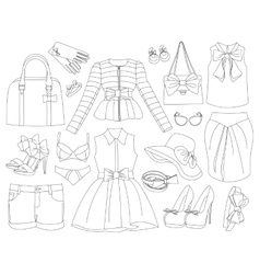 Lady clothes and accessories vector image