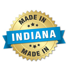 Made in indiana gold badge with blue ribbon vector