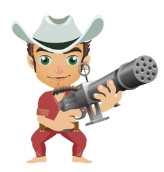 Man in the hat armed with machine gun vector image vector image