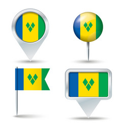 Map pins with flag of Saint Vincent and the vector image