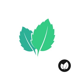 Mint leaves logo two leaves of a mint with one vector