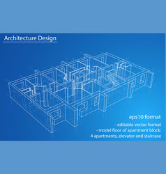 model floor of apartment block vector image