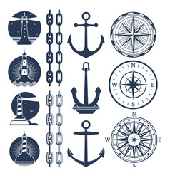 nautical logos and elements set - compass vector image vector image