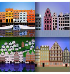 set of european cities vector image